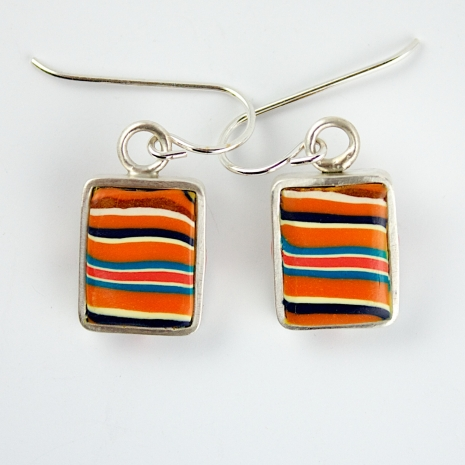 Sterling silver and polymer clay earrings
