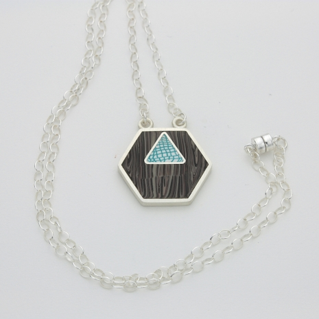 Sterling Silver and Polymer Clay Pendant Necklace
