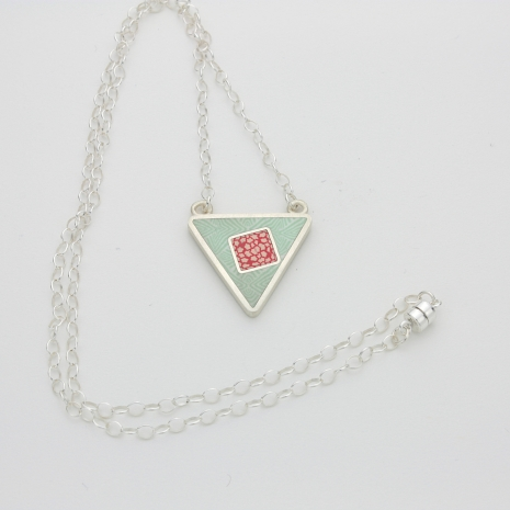 Polymer Clay and Sterling Silver Pendant
